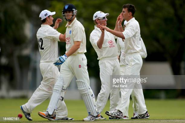 Matthew Dixon of Western Australia celebrates the wicket of Jay Lenton of New South Wales during day two of the Futures League match between Western...