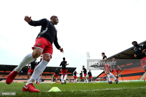 Matthew Dolan of Newport County AFC warms up ahead of the Sky Bet League Two match between Barnet FC and Newport County at The Hive on April 21 2018...