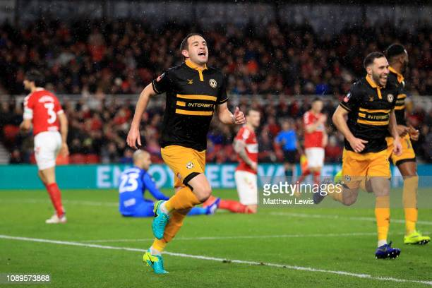 Matthew Dolan of Newport County celebrates after scoring his team's first goal during the FA Cup Fourth Round match between Middlesbrough and Newport...