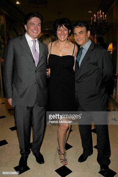 Matthew Doull Ghislaine Maxwell and Jeffry Leeds attend PEGGY SIEGAL'S Birthday Celebration at Hotel Plaza Athenee on June 26 2007 in New York City