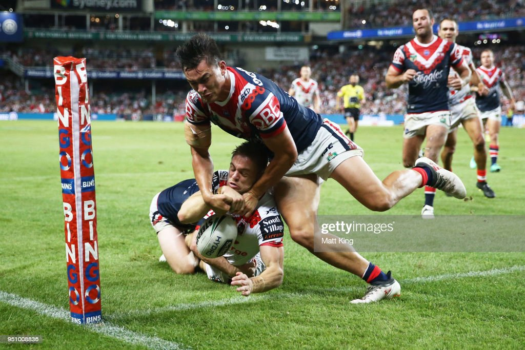 Matthew Duffy of the Dragons is tackled and loses the ball just before the line during the round eight NRL match between the St George Illawara Dragons and Sydney Roosters at Allianz Stadium on April 25, 2018 in Sydney, Australia.