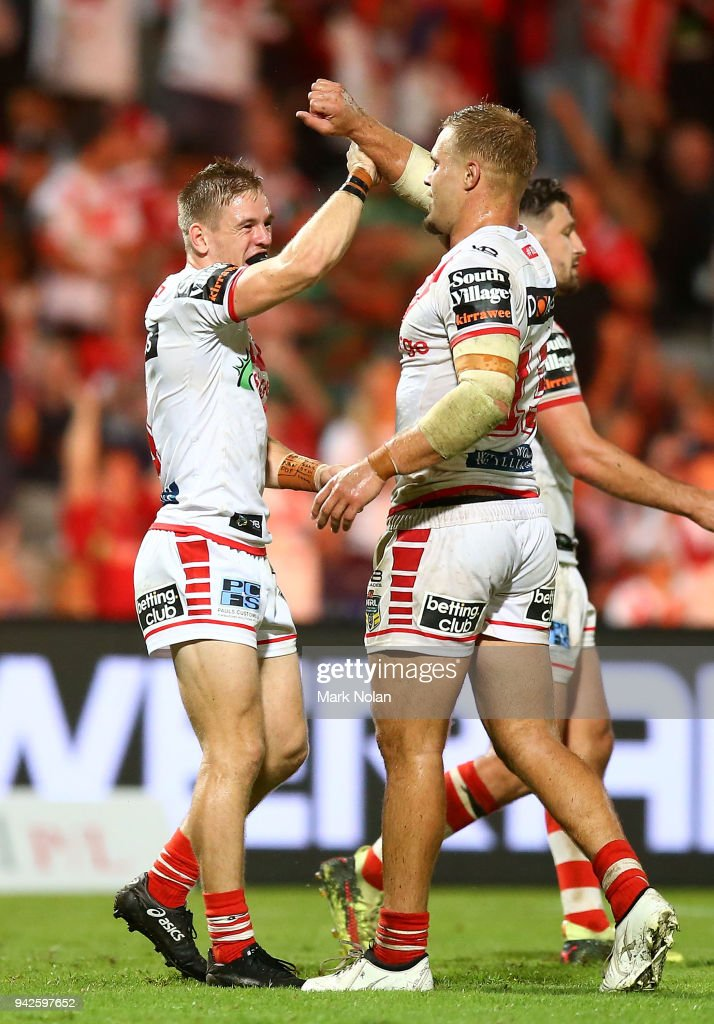Matthew Dufty and Jack de Belin of the Dragons celebrate after winning the round five NRL match between the St George Illawarra Dragons and the South Sydney Rabbitohs at UOW Jubilee Oval on April 6, 2018 in Sydney, Australia.