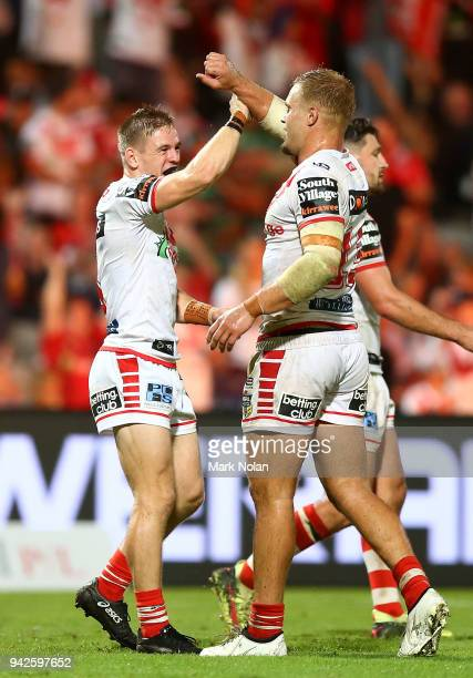 Matthew Dufty and Jack de Belin of the Dragons celebrate after winning the round five NRL match between the St George Illawarra Dragons and the South...