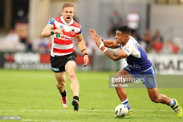 Matthew Dufty of the Dragons reacts after dropping the ball during the round nine NRL match between the St George Illawarra Dragons and the...