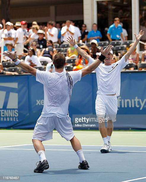 Matthew Ebden of Australia and Alex Bogomolov reacts after winning the doubles final against Matthias Bachinger and Frank Moser of Germany at the...