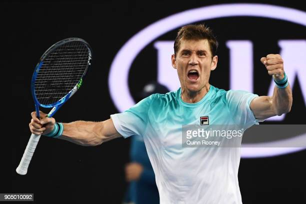 Matthew Ebden of Australia celebrates after winning his first round match against John Isner of the United States on day one of the 2018 Australian...