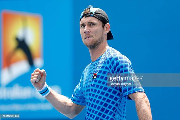 Matthew Ebden of Australia celebrates in his first round match against Marcel Granollers of Spain during day two of the 2016 Australian Open at...