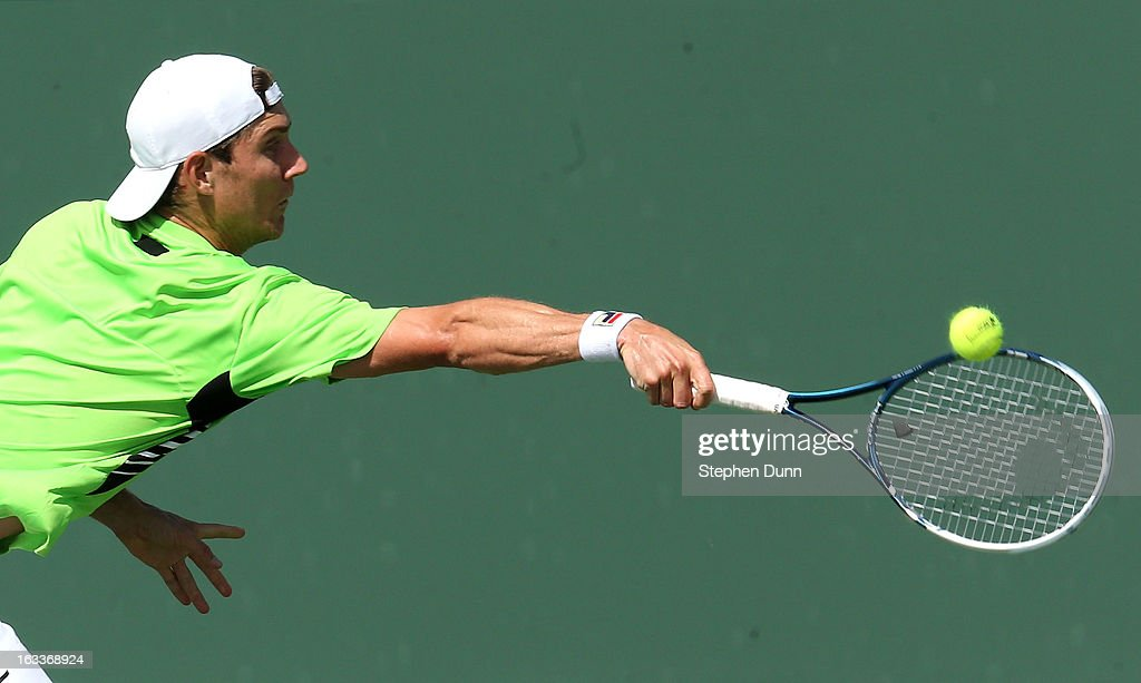 Matthew Ebden of Australia hits a return to Andrey Kuznetsov of Russia during day 3 of the BNP Paribas Open at Indian Wells Tennis Garden on March 8, 2013 in Indian Wells, California.