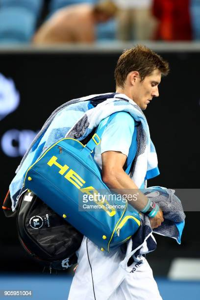 Matthew Ebden of Australia leaves the court after losing his second round match against Alexandr Dolgopolov of the UkraineÊon day three of the 2018...