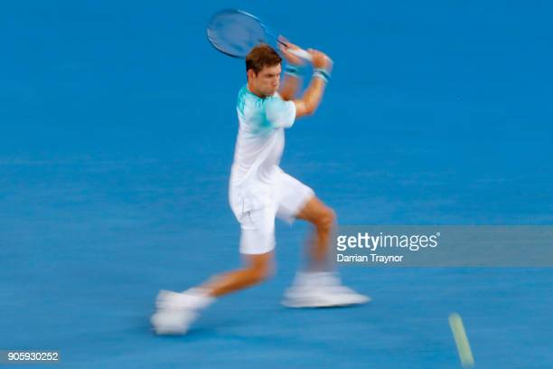 Matthew Ebden of Australia plays a back hand in his second round match against Alexandr Dolgopolov of Ukraine of Ukraine on day three of the 2018...