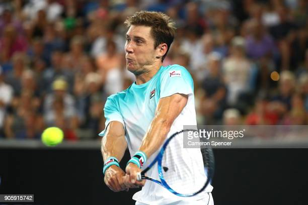 Matthew Ebden of Australia plays a backhand in his second round match against Alexandr Dolgopolov of the UkraineÊon day three of the 2018 Australian...