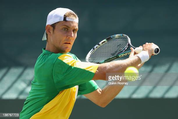 Matthew Ebden of Australia plays a backhand in his singles match against Ya Nan Ma of China during day three of the Davis Cup Asia Oceania Zonal Tie...
