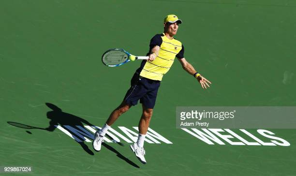 Matthew Ebden of Australia plays a forehand during his match against Gael Monfils of France during the BNP Paribas Open at the Indian Wells Tennis...