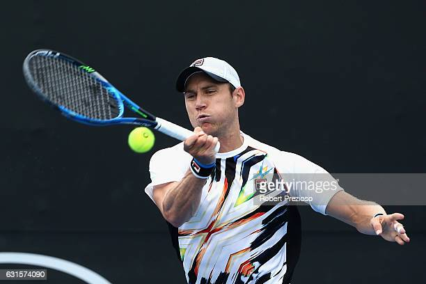 Matthew Ebden of Australia plays a forehand in his 2017 Australian Open Qualifying match against Evgeny Donskoy of Russia at Melbourne Park on...