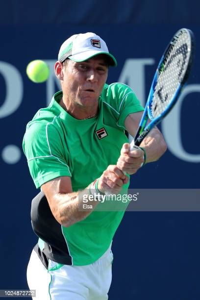 Matthew Ebden of Australia returns the ball during his men's singles first round match against Filip Krajinovic of Serbia on Day Two of the 2018 US...