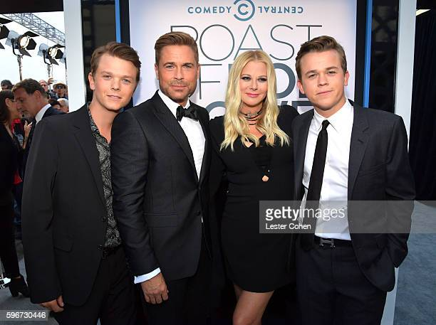 Matthew Edward Lowe honoree Rob Lowe makeup artist Sheryl Berkoff and John Owen Lowe attend The Comedy Central Roast of Rob Lowe at Sony Studios on...
