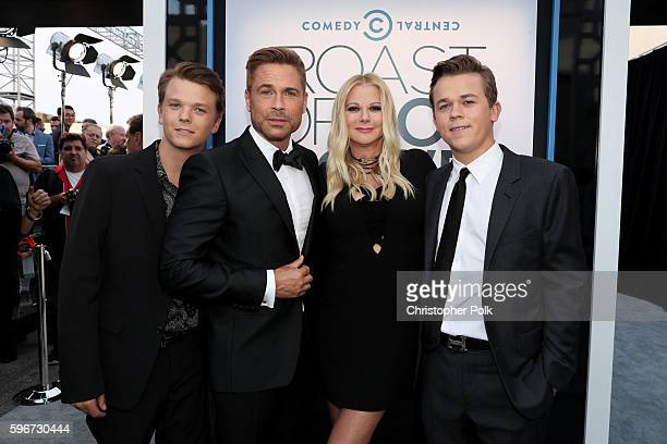 Matthew Edward Lowe honoree Rob Lowe Sheryl Berkof and John Owen Lowe attend The Comedy Central Roast of Rob Lowe at Sony Studios on August 27 2016...