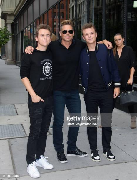 Matthew Edward Lowe Rob Lowe and John Owen Lowe are seen on July 24 2017 in New York City