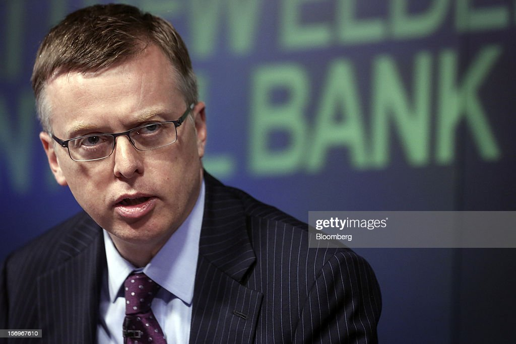 Matthew Elderfield, head of financial regulation at Ireland's central bank, speaks during an event in London, U.K., on Monday, Nov. 26, 2012. European leaders must put the funds and tools in place to rescue ailing lenders before they transfer oversight to the region's central bank or they risk worsening the sovereign-debt crisis, Elderfield said. Photographer: Jason Alden/Bloomberg via Getty Images