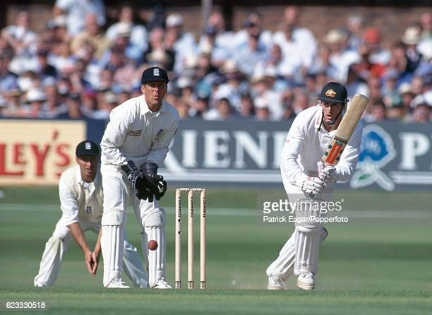 Matthew Elliott batting for Australia during his innings of 199 in the 4th Test match between England and Australia at Headingley Leeds 25th July...