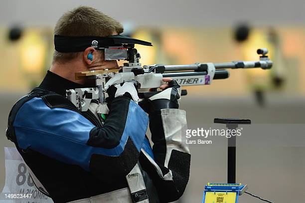 Matthew Emmons of the United States competes in the Men's 10m Air Rifle qualification on Day 3 of the London 2012 Olympic Games at The Royal...