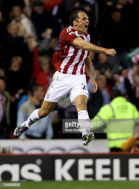 Matthew Etherington of Stoke City celebrates his team's victory at the end of the Barclays Premier League match between Stoke City and Aston Villa at...