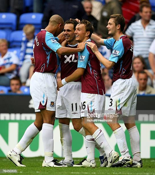 Matthew Etherington of West Ham celebrates scoring the third goal during the Barclays Premier League match between Reading and West Ham United at the...