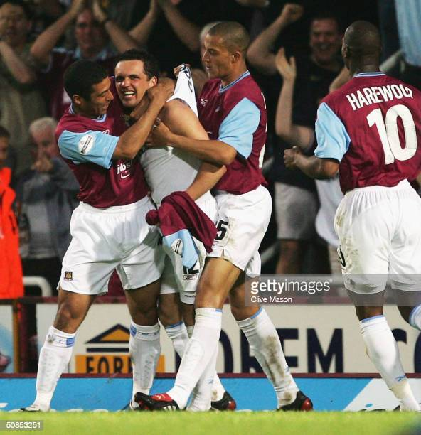 Matthew Etherington of West Ham United celebrates scoring their first goal during the Nationwide Division One playoff second leg match between West...