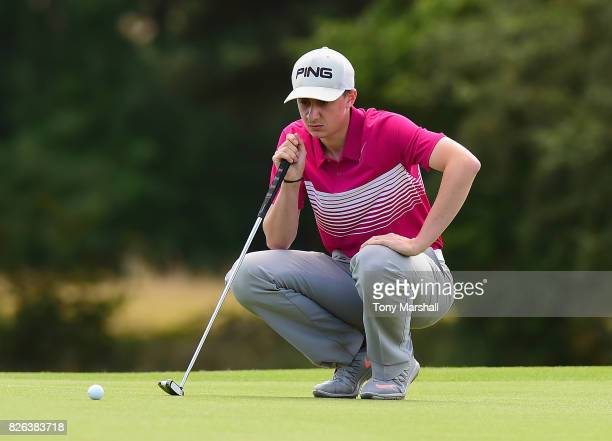 Matthew Fieldsend of Drayton Park Golf Club lines up his putt on the 18th green to win the Galvin Green PGA Assistants' Championship during Day Three...