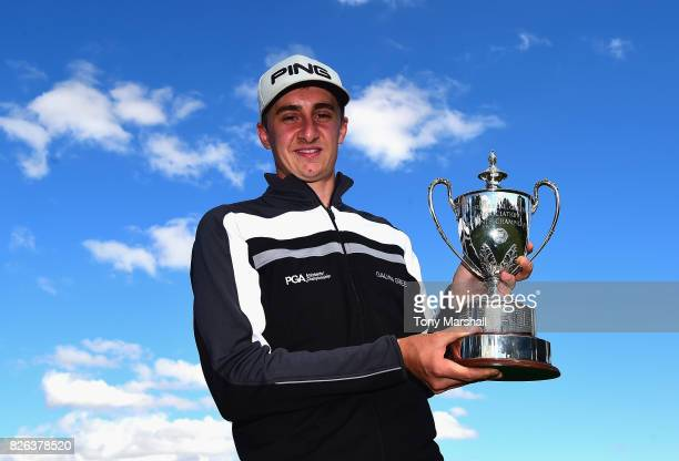 Matthew Fieldsend of Drayton Park Golf Club poses with the PGA Assistants' Championship Trophy after winning the Galvin Green PGA Assistants'...