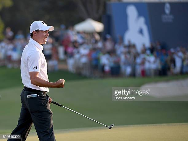 Matthew Fitzpatrick of England celebrates after holing the winning putt to win the DP World Tour Championship during the final round of the DP World...