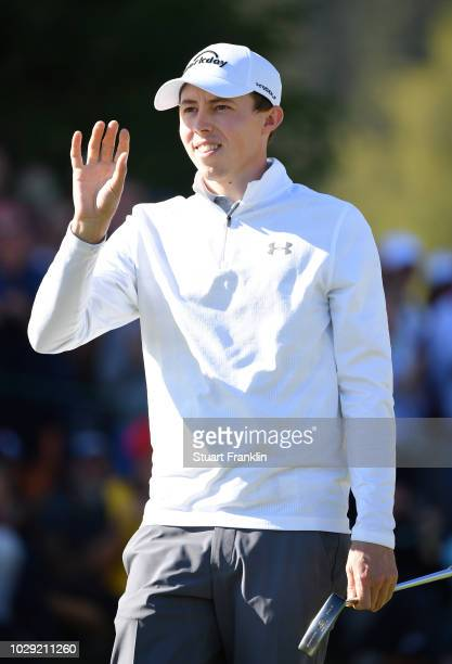 Matthew Fitzpatrick of England celebrates his birdie putt on the 18th hole during the third round of The Omega European Masters at CranssurSierre...