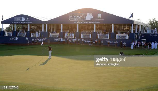 Matthew Fitzpatrick of England celebrates victory on the 18th green during Day Four of the DP World Tour Championship at Jumeirah Golf Estates on...