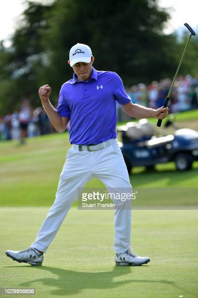 Matthew Fitzpatrick of England celebrates winning The Omega European Masters at CranssurSierre Golf Club on September 9 2018 in CransMontana...