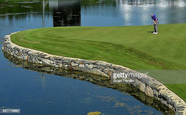 Matthew Fitzpatrick of England hits a putt on the 17th hole during the second round on day two of the Nordea Masters at Bro Hof Slott Golf Club on...