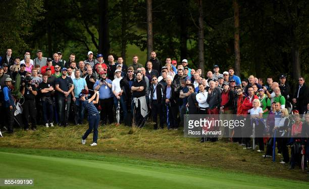 Matthew Fitzpatrick of England hits his second shot on the 4th hole during day two of the British Masters at Close House Golf Club on September 29...
