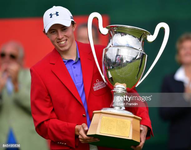 Matthew Fitzpatrick of England holds the winners trophy after the final round of the Omega European Masters at CranssurSierre Golf Club on September...