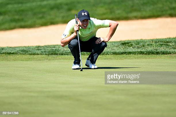 Matthew Fitzpatrick of England lines up a putt on the 9th green during day two of the DD REAL Czech Masters at Albatross Golf Resort on August 19...