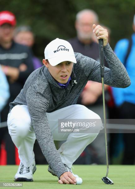 Matthew Fitzpatrick of England lines up his putt on the 9th green during day one of the Made in Denmark played at the Silkeborg Ry Golf Club on...