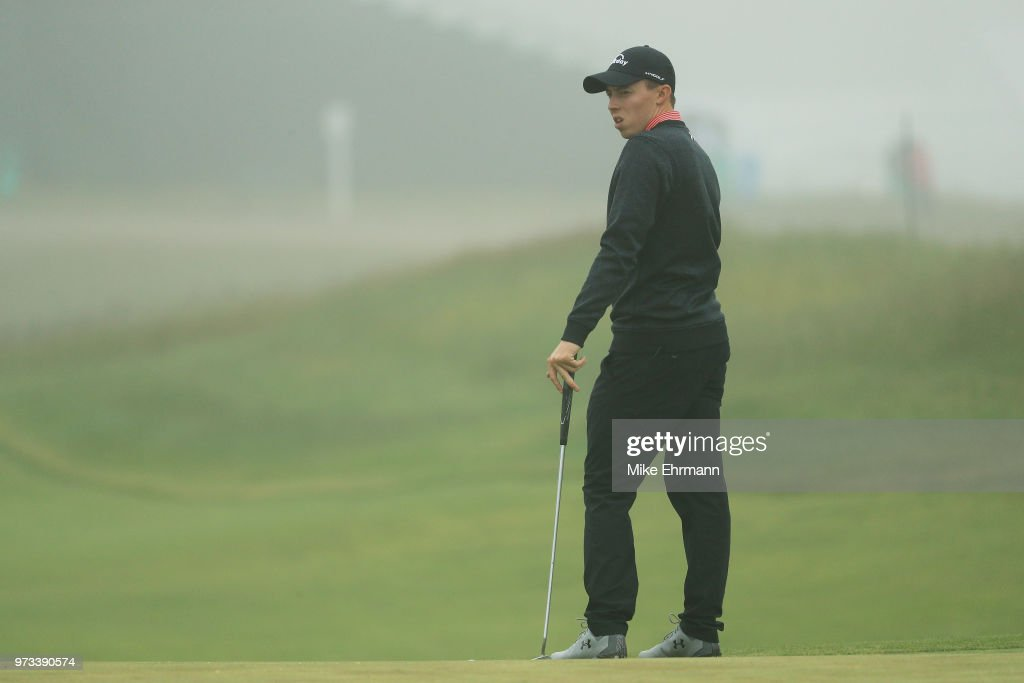 Matthew Fitzpatrick of England looks on from the 14th green during a practice round prior to the 2018 U.S. Open at Shinnecock Hills Golf Club on June 13, 2018 in Southampton, New York.