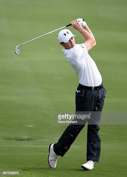 Matthew Fitzpatrick of England on the par five 3rd hole during the final round of the BMW Masters at Lake Malaren Golf Club on November 15 2015 in...