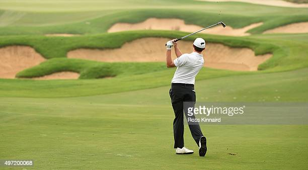 Matthew Fitzpatrick of England on the par five 7th hole during the final round of the BMW Masters at Lake Malaren Golf Club on November 15 2015 in...