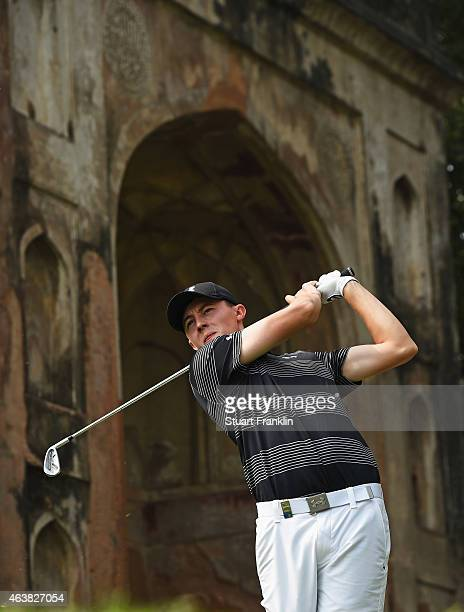 Matthew Fitzpatrick of England plays a shot during the first round of the Hero India Open Golf at Delhi Golf Club on February 19 2015 in New Delhi...