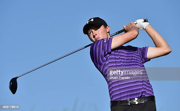Matthew Fitzpatrick of England plays a shot during the fourth round of the European Tour qualifying school final stage at PGA Catalunya Resort on...