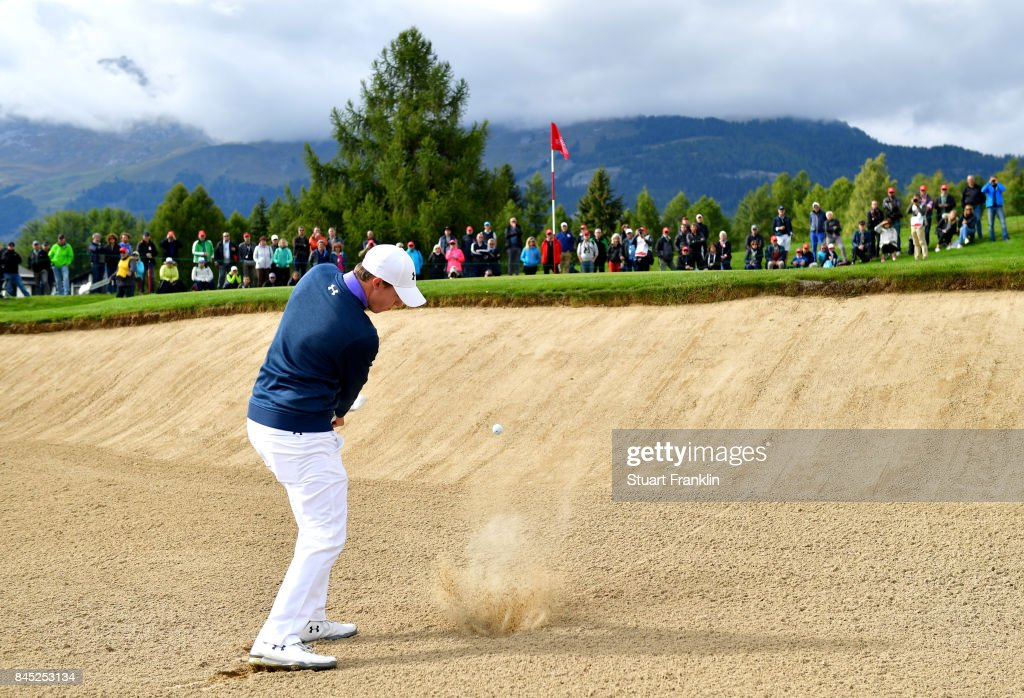 Matthew Fitzpatrick of England plays a shot from a bunker on the 17th hole during Day Five of the Omega European Masters at Crans-sur-Sierre Golf Club on September 10, 2017 in Crans-Montana, Switzerland.