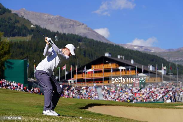 Matthew Fitzpatrick of England plays a shot on the 18th hole during the third round of The Omega European Masters at CranssurSierre Golf Club on...