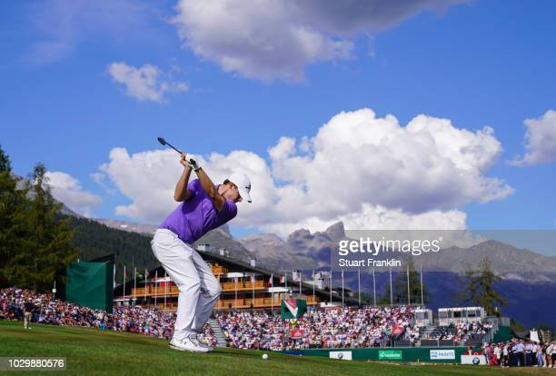 Matthew Fitzpatrick of England plays a shot on the 18th hole during the final round of the Omega European Masters at CranssurSierre Golf Club on...