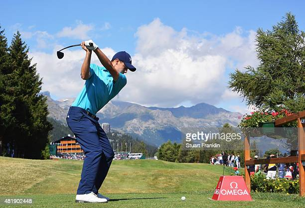 Matthew Fitzpatrick of England plays a shot on the 18th hole during the third round of the Omega European Masters at CranssurSierre Golf Club on July...