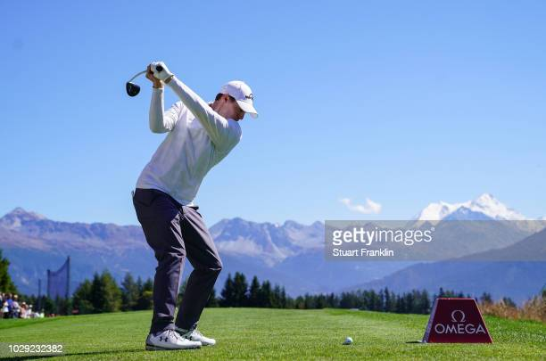 Matthew Fitzpatrick of England plays a shot on the seventh hole during the third round of The Omega European Masters at CranssurSierre Golf Club on...