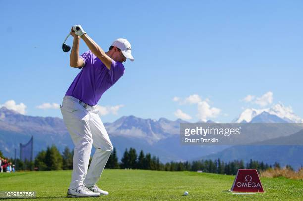 Matthew Fitzpatrick of England plays a shot on the seventh hole during the final round of the Omega European Masters at CranssurSierre Golf Club on...